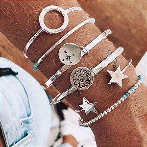 Bracelete Fino Com Duas Estrelas Cheias - Prata 925