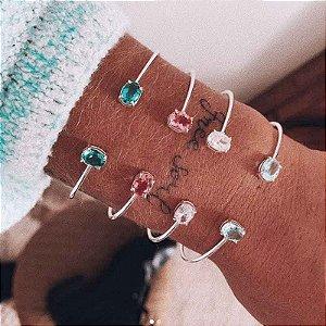 Bracelete De Cristal - Prata 925