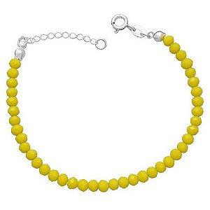 Pulseira De Miçangas Amarelo - Prata 925