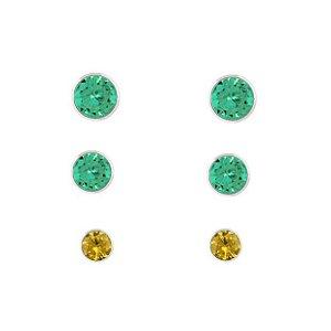 Kit 3 Brincos Verde E Amarelo - Prata 925