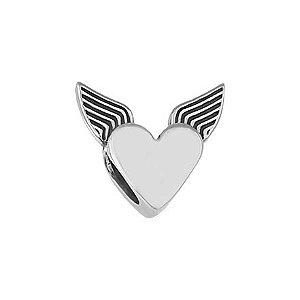 Berloque Coração Com Asa - Prata 925