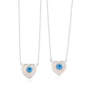 Escapulario Coração Olho Grego - Prata 925