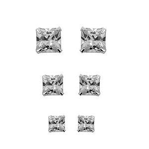 Cartela Três Brincos Zircônia Quadrado - Prata 950