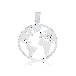 Pingente Mapa Mundi - Prata 925