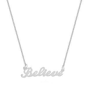 """Colar Believe """"Acreditar"""" - Prata 925"""