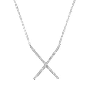 Colar X Cravejado - Prata 925