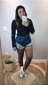 Short Jeans Desfiado Cinto Luna