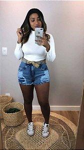 Short Jeans Cinto Palha