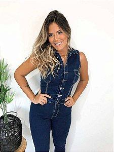 Macacão Jeans Longo Botões
