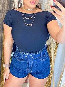 Short Jeans Liso Cintinho