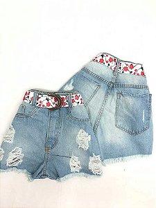 Short Jeans Cintinho Floral