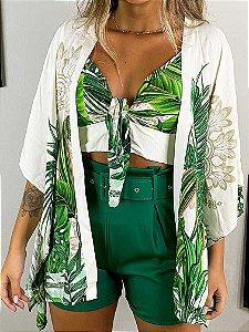 Conjunto Cropped e Kimono Maldivas