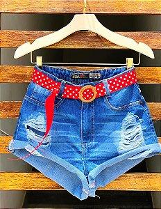 Short Jeans Cintinho Poá Red