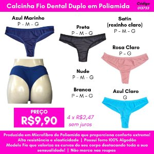 Calcinha Fio Duplo - Cores Variadas