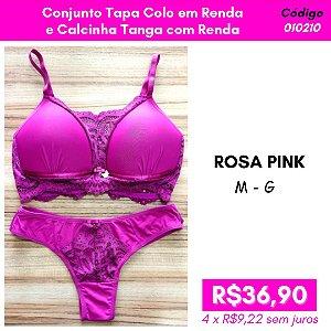 Conjunto Tapa Colo em Renda e Calcinha Tanga - Rosa Pink