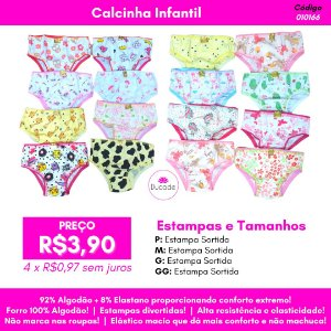 Calcinha Avulsa Infantil - Cor Sortida