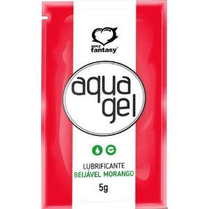 Gel Aquagel Lubrificante Íntimo Beijável Aromático Sachê 5g - Morango