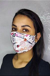 Máscara de Proteção Dupla Sublimada - Maquiagem
