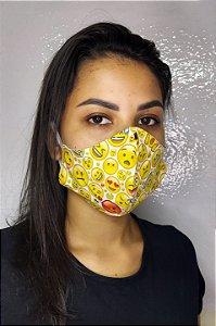Máscara de Proteção Dupla Sublimada - Emoticons