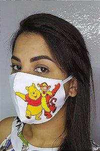 Máscara de Proteção Dupla Sublimada - Ursinho Pooh e Tigrão