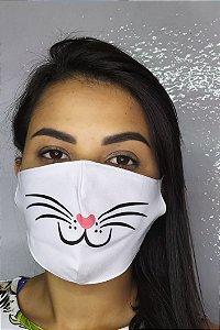 Máscara de Proteção Dupla Sublimada - Fucinho do Gato
