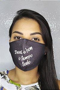 Máscara de Proteção Dupla Sublimada - Deus é bom o tempo todo