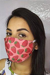 Máscara de Proteção Dupla Sublimada - Morangos vermelho