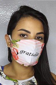 Máscara de Proteção Dupla Sublimada - Linha Religiosa - Gratidão com Paisagem Flaminho