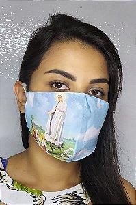Máscara de Proteção Dupla Sublimada - Linha Religiosa - Nossa Senhora de Fatima