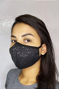 Máscara de Luxo Feminina Dupla - LINHA MAGNÍFICA - Preta Brilhante com Lantejoulas