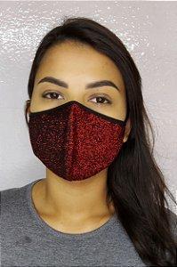 Máscara Premium Feminina Dupla - LINHA MAGNÍFICA - Preto com Vermelho Brilhante