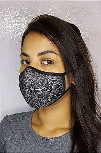 Máscara de Luxo Feminina Dupla - LINHA MAGNÍFICA - Preto com Prata Brilhante
