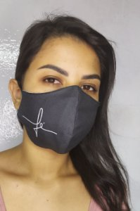 Máscara de Proteção Dupla Sublimada - Fé Preta