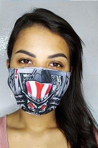 Máscara de Proteção Dupla Sublimada - Caveira e Baralho
