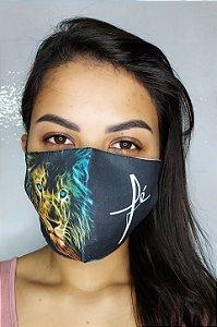 Máscara de Proteção Dupla Sublimada - Linha Religiosa - Fé com Leão