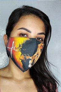 Máscara de Proteção Dupla Sublimada - Linha Religiosa - Fé com Cristo e Leão