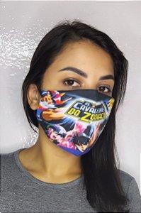 Máscara de Proteção Dupla Sublimada - Os Cavaleiros Do Zodiaco