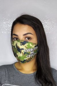 Máscara de Proteção Dupla Sublimada - Exército de Cristo