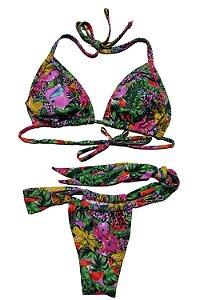 Biquíni Cortininha com Bojo e Tanga Estampado - Floral com Rosa e Verde