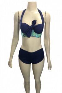 Biquíni com Bojo de Nó Frontal Estampado com Shortinho – Azul Marinho com Floral Verde