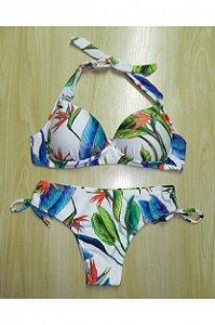 Biquíni de Amarrar e Calcinha Tanga com Cordinhas - Estampado Floral
