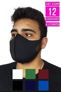 Kit com 12 Máscaras de  Neoprenes Adulto - 6 cores - 2 Unidades de Cada Cor