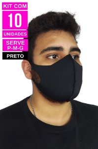 Kit com 10 Máscaras de Neoprenes Adulto - Preto