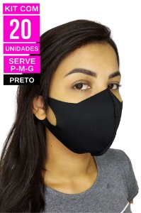 Kit com 20 Máscaras de Neoprenes Adulto - Preto
