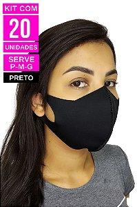 Kit com 20 Máscaras de Neoprenes Adulto - Preto