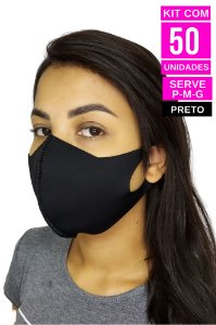 Kit com 50 Máscaras de Neoprenes Adulto - Preto
