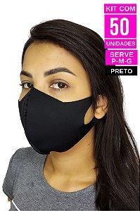Kit com 50 Máscaras de Neoprenes Adulto - Preto