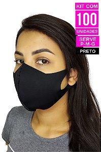 Kit com 100 Máscaras de Neoprenes Adulto - Preto