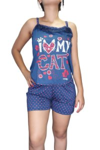 """Short Doll de Alcinha - Azul Marinho """"I Love My Cat"""""""