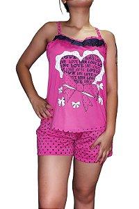 Short Doll de Alcinha - Rosa Pink com Laço e Coração